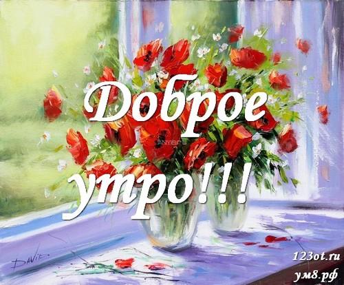 Доброе утро и отличного дня, открытка с цветами девушке, женщине